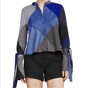BCBGMaxazria Marissa Long Sleeved Colorblocked Top